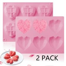2 Pack 6-Cavity Heart-shaped Silicone Mold Chocolate Cake Cookie Baking Molds
