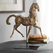 "CABALLO DORADO FARMHOUSE XXL 17"" HORSE STATUE SCULPTURE AGED FINISH UTTERMOST"
