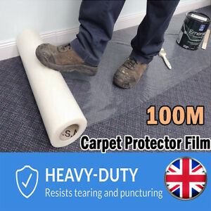 Carpet Protection Protector Floor Stairs Film Self Adhesive Roll 600MM X 100M UK