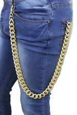 Men Gold Long Wallet Metal Chain Link KeyChain Thick Chunky Links Jeans Strong