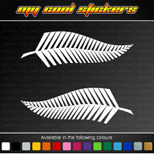 Pair of 14cm Silver Fern Sticker Decal suits 4X4, ute, car, helmet. New Zealand