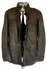 Armani Collezioni Leather Field Jacket EU50 Large RRP£1067 Coat Brown Khaki