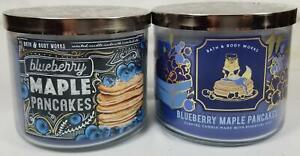 Bath Body Works Candle BLUEBERRY MAPLE PANCAKES Scented 3-wick Jars x 2