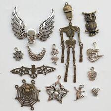 13 un. anti-Plata Halloween cuentas encanto colgante Lotes mixtos de Araña Calavera Búho fantasma