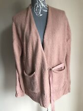 Next Womens Cardigan Size M (14-16) Pink With Pockets Mohair Wool Long Sleeved