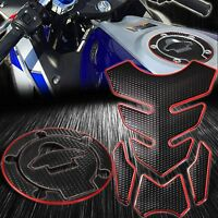 4PCs Perforated Black Tank Pad+Gas/Fuel Cap Cover 14-20 Yamaha YZF R3 Chrome Red
