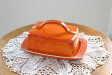 Butterdose getöpfert Keramik orange Handarbeit Butterglocke Dawanda