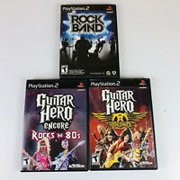 LOT OF 3 PS2 Guitar Hero Aerosmith, Encore Rock 80's & Rockband Complete