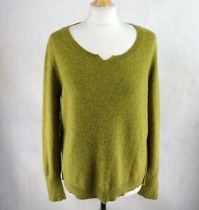 Womens MISTRAL Alpaka Blend Knitted Jumper Size UK 14 Scoop neck Sweater Lime