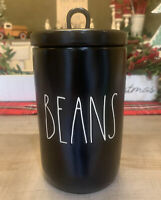"RAE DUNN - BEANS - Black Canister By Magenta - 6.5"" H x 4"" D - Coffee Lovers"