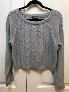 Freshman 1996 NWT L Gray Pearl Cable Sweater $44 P071