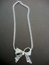 1950's  Rhinestone Bow Design Necklace W/Double Chain - Finished Back
