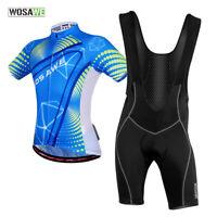 Mens Cycling Bib Sets Team Bike Short Sleeve Jersey Padded Bib Shorts Quick Dry