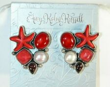 AMY KAHN RUSSELL Carved Starfish Quartz Sterling Silver Post or Clip Earrings
