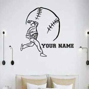 Personalized Name Unique Baseball Softball Player Wall Stickers for Boys Room