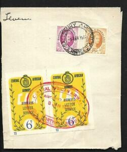 RHODESIA & NYASALAND, 1959 CAA PART COVER, WITH 2 X 6d LABELS, SALISBURY AIRPORT