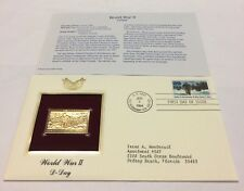 World War II D-Day Stamp, June 6, 1994 FDC and 22kt gold replica