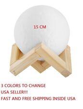 Moon 3D Printing Lamp 3 Colors 15 CM LED Night Lunar Light Moonlight Touch