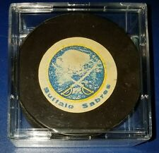 VINTAGE BUFFALO SABRES  HOCKEY PUCK Rawlings official game made in Canada old