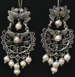 TAXCO MEXICAN 925 SILVER KISSING BIRDS PEARLS DANGLE EARRINGS FRIDA KAHLO STYLE