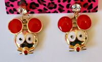 Betsey Johnson Crystal Rhinestone Enamel Mouse Post Earrings