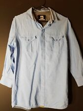 QUIKSILVER Men's Shirt S  Button Front  LONG SLEEVE Cotton BLUE