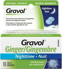 Gravol Ginger Nighttime Tablets Anti Nausea with Melatonin From Canada Box of 16
