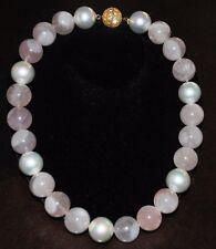 Collar Perla Rosa Cuarzo Rosa Grande Llamativo Tono Dorado Cristal Cierre 55.9cm