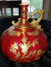 Antique Victorian Royal Crown Derby red lobed porcelain vase with Gilt. W/letter