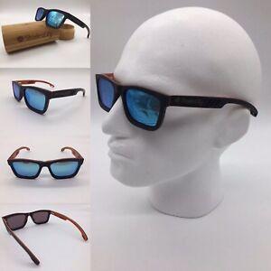 Men's Handcrafted Skate Wood Frame Blue Mirror Polarized Sunglasses UV 400