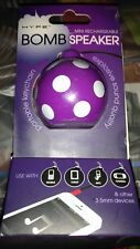 Hype Mini Rechargeable Bomb Speaker w/Included Micro USB Cable New Purple/Dots