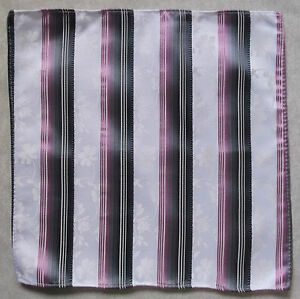Handkerchief MENS Top Pocket Hankie PINK WHITE FLORAL STRIPED 25cm X 25cm NEW