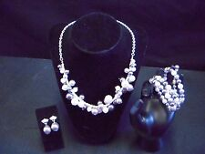 NEW FASHION JEWELRY SET - NECKLACE, BRACELET & EARRING CREAM/SILVER/GREY BEADS