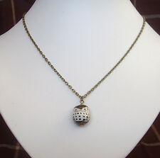 """Black and White Porcelain Owl Pendant 18"""" Bronze Chain Necklace in Gift Bag"""