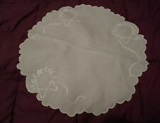 Madeira Bow Linen Embroidered 19 inch Table Topper or Doily.
