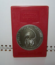 Vintage USSR Rare Metal desktop medal DEDICATED TO THE WORKING CLASS Original