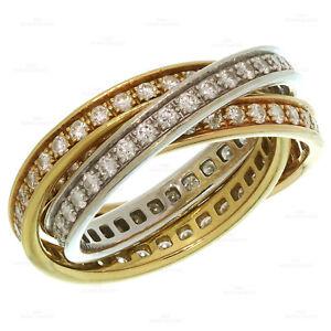 TRINITY De CARTIER Diamond 18k Tri-Gold Band Ring Size 58