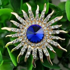 High-grade Crystal Brooch Sun Flower Rhinestones Men Suit Yellow Jewelry
