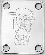 Engraved Etched GUITAR NECK PLATE Fender Size - STEVIE RAY VAUGHAN SRV - CHROME