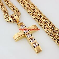 Necklace Men's Cz Jewelry Byzantine Chain New Cross Stainless Steel Gold Pendant