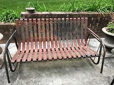 Vintage Metal Outdoor Patio Glider Sofa/ Bench - Rustic & Chippy