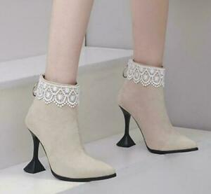 Womens Chic Lace Ankle Boots High Heel Party Shoes Pointy Toe Stiletto Plus Size