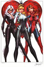 Jamie Tyndall SIGNED Spiderman Art Print Spider Gwen Stacy Mary Jane Black Cat