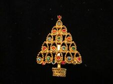 "Nice Gold Jeweled Christmas Tree Brooch Pin Signed ""Beatrix"""