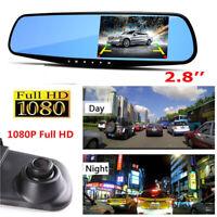 1x HD 1080P Azul Lente 2.8'' Espejo Retrovisor Cámara Grabadora Coche DVR Rallas