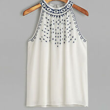 Nuevo Informal Para Mujer Blusa Sin Mangas Camiseta verano de tirantes Bordado