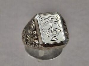Antik Ring 835 Silber Siegelring im Jugendstil