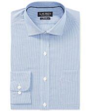 NEW LAUREN RALPH LAUREN BLUE PINSTRIPED SLIM FIT STRETCH DRESS SHIRT 15.5/34-35