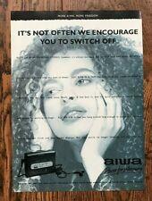 Vintage Retro Original 90's UK Magazine 1994 AIWA Personal Stereo Advert Ad
