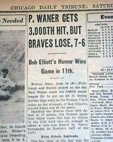 PAUL WANER Boston Braves 3,000th Hit MLB Baseball 1942 World War II Newspaper